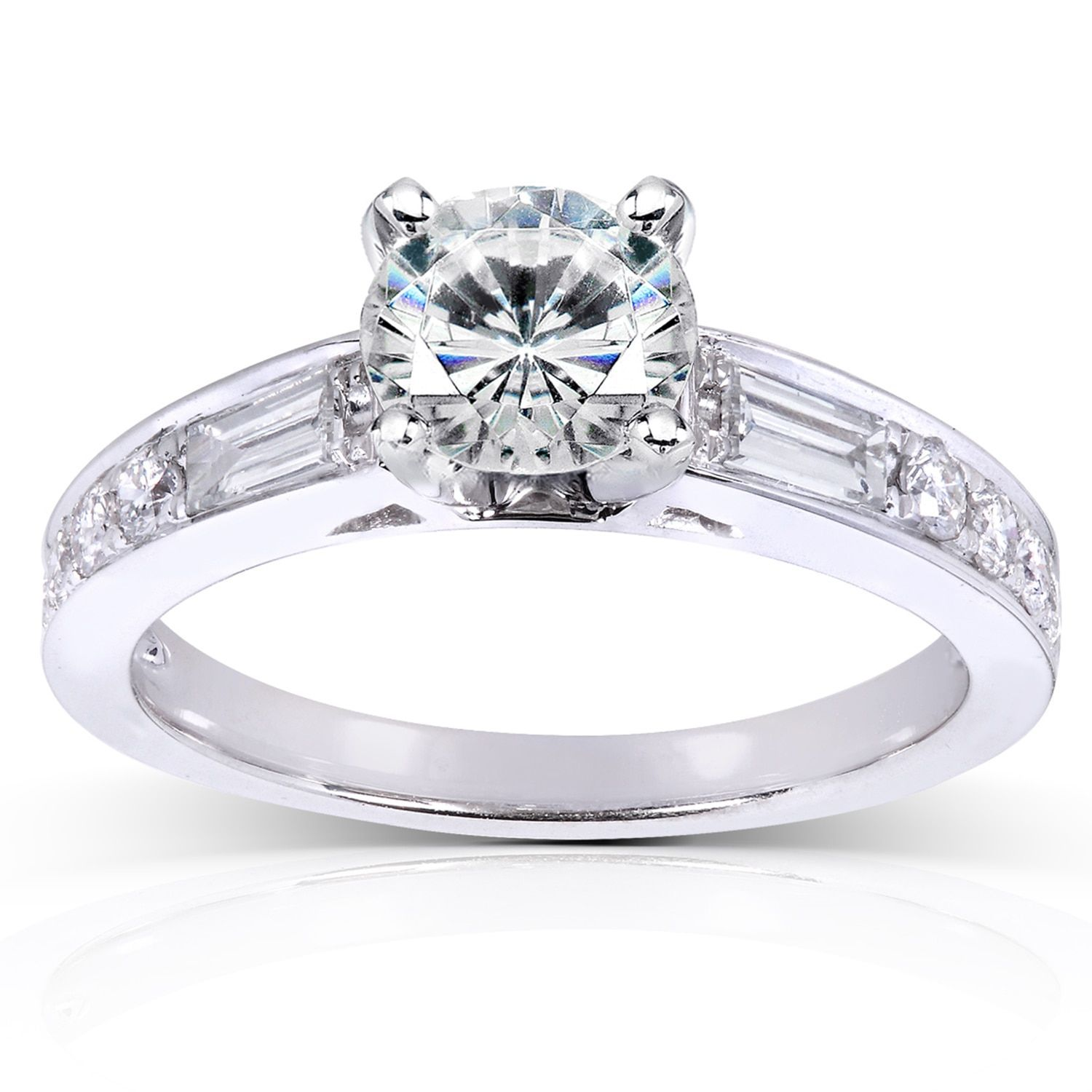 Annello by Kobelli 14k Gold 1 1/2ct TGW Round Moissanite and Mixed-cut Diamonds Engagement Ring