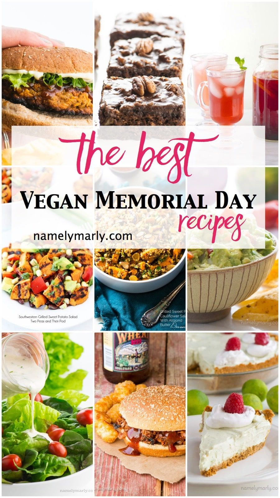 A Collage Of Various Vegan Picnic Type Recipe Photos The