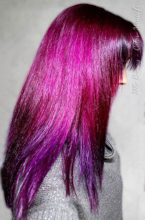 Teinture cheveux couleur mauve
