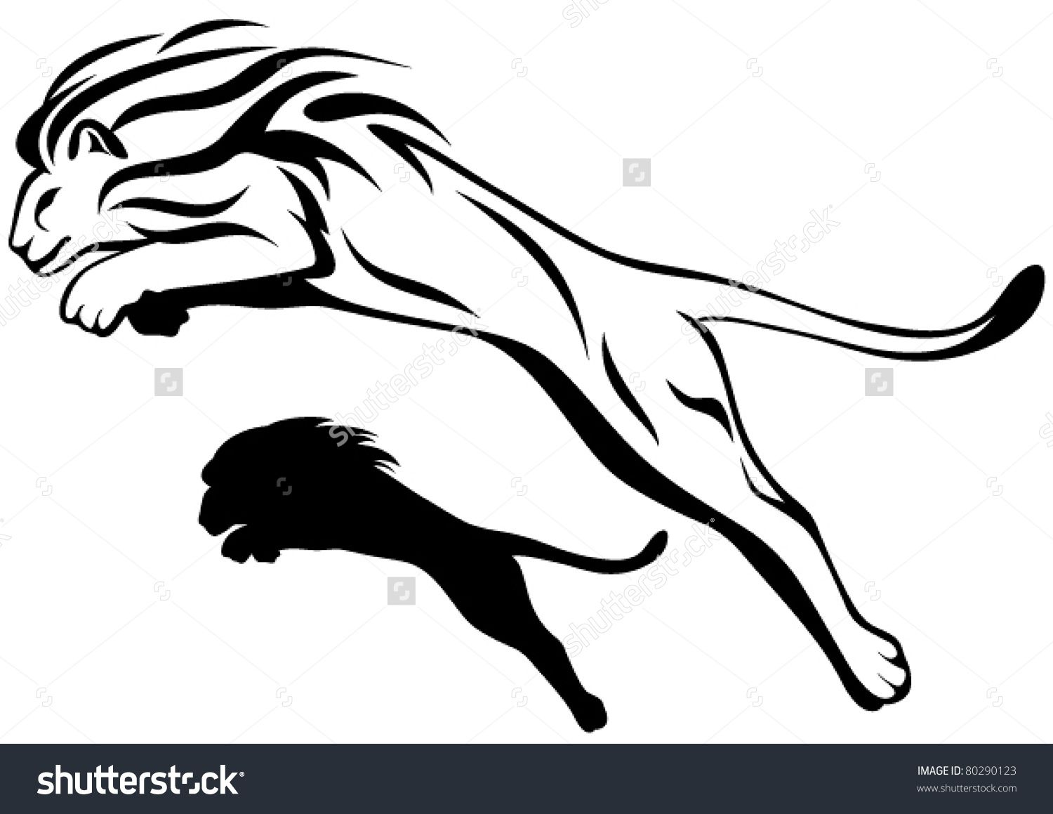 Line Drawing Lion Head : Jumping lion vector illustration outline and silhouette tatto