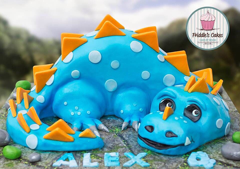Blue dragon or blue dinosaur themed 3D birthday cake Teddy