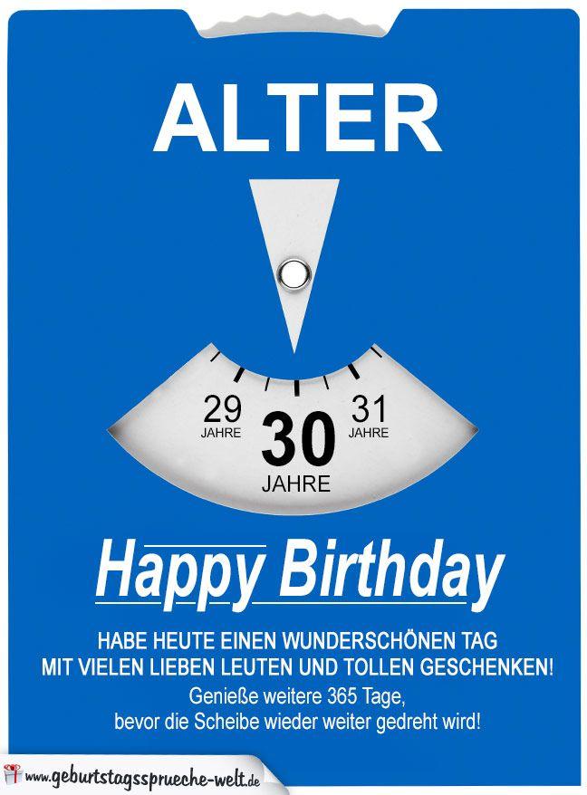 Geburtstagskarte Als Parkscheibe Zum 30 Geburtstag