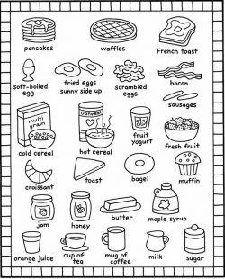 Breakfast Coloring Pages, Kids Recipes Books, Food and