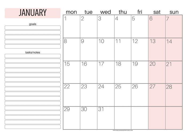 Free Printable Monday Calendar 2018 Week Starts On Monday Free