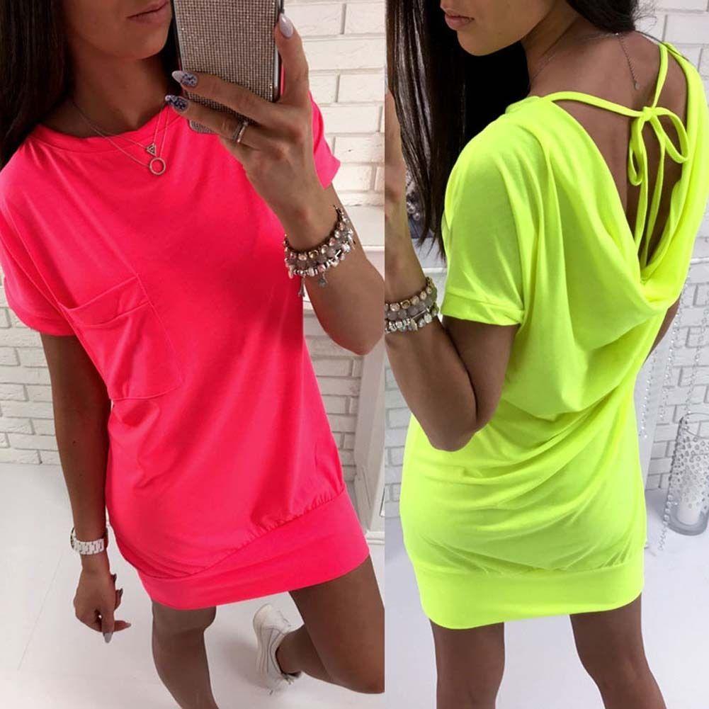 Summer women maxi evening cocktail party beach dress fluorescent