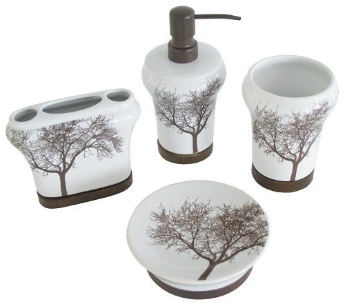 Organization Is The Key With This Tree 4 Piece Set By Splash Home. This  Sophisticated Design Consists Of A Brown And White Tree Motif.