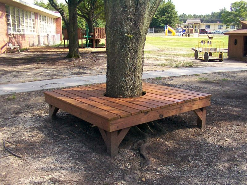 Benches picnic tables photo gallery go out and play for Benches that go around trees