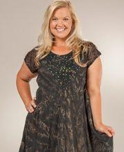 Easy Fit Plus Short Sleeve Cotton Umbrella Dress in Black ...