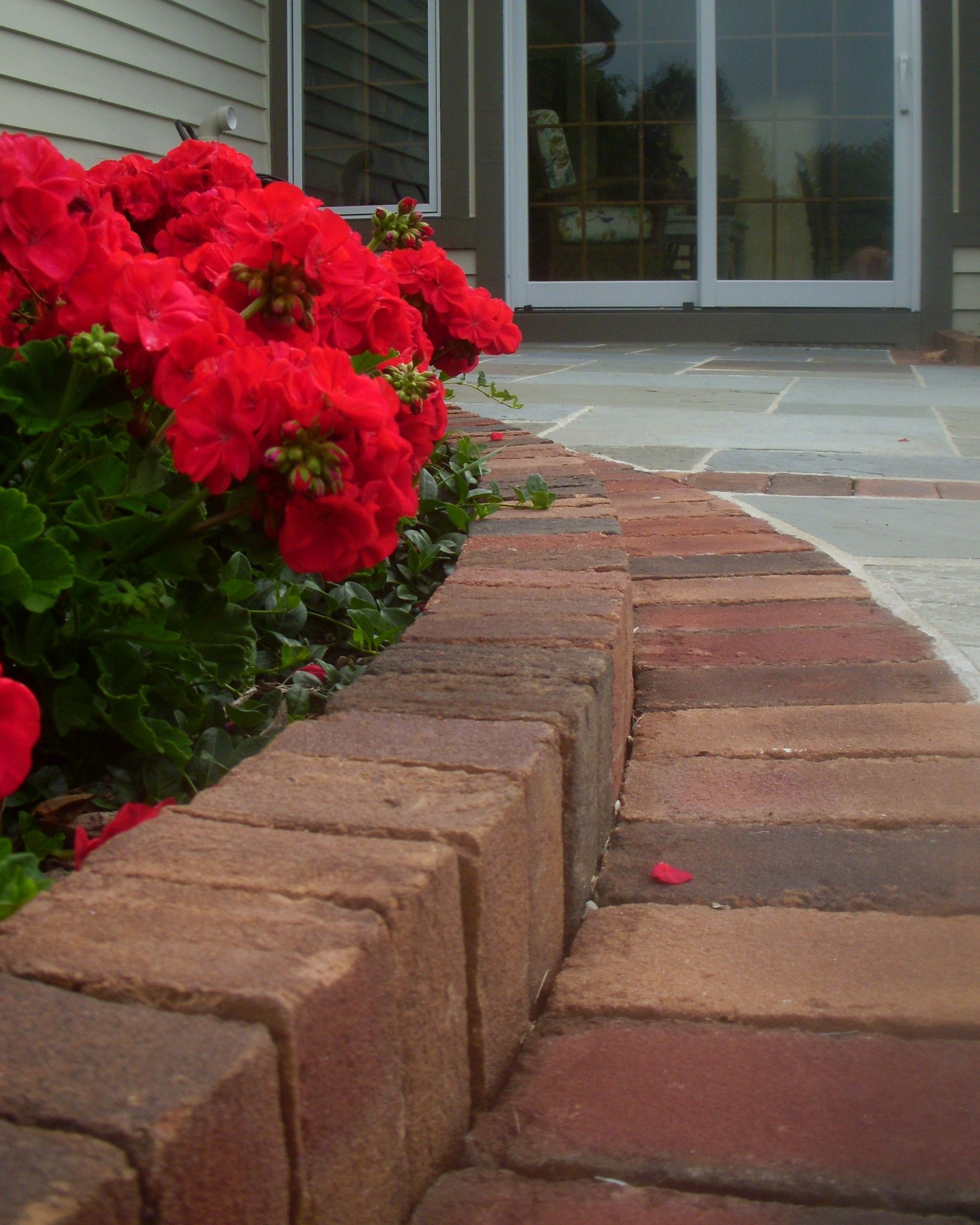 Brick edging set in a soldier course | Landscape edging ...