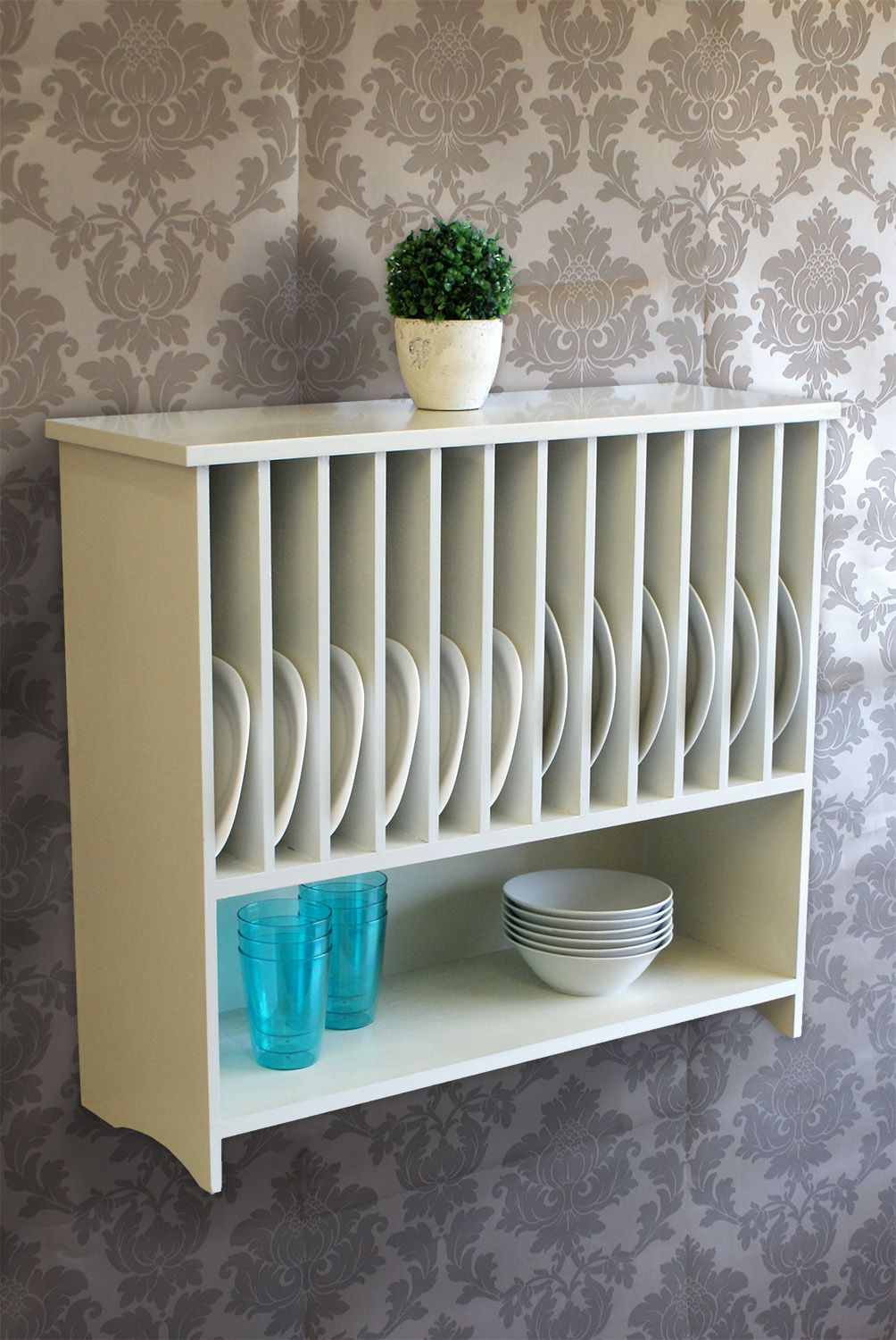 Wooden Wall mounted Plate Rack with Shelf Kitchen Storage - off white painted & Wooden Wall mounted Plate Rack with Shelf Kitchen Storage - off ...