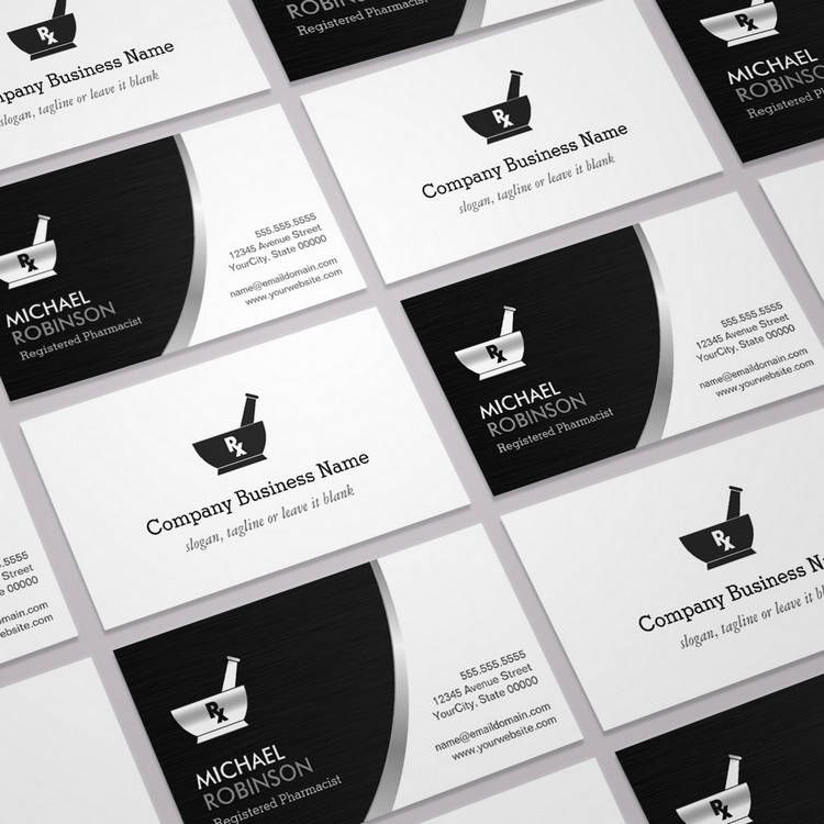 Pharmacy Pharmacist Logo - Modern Black Silver Business Card ...