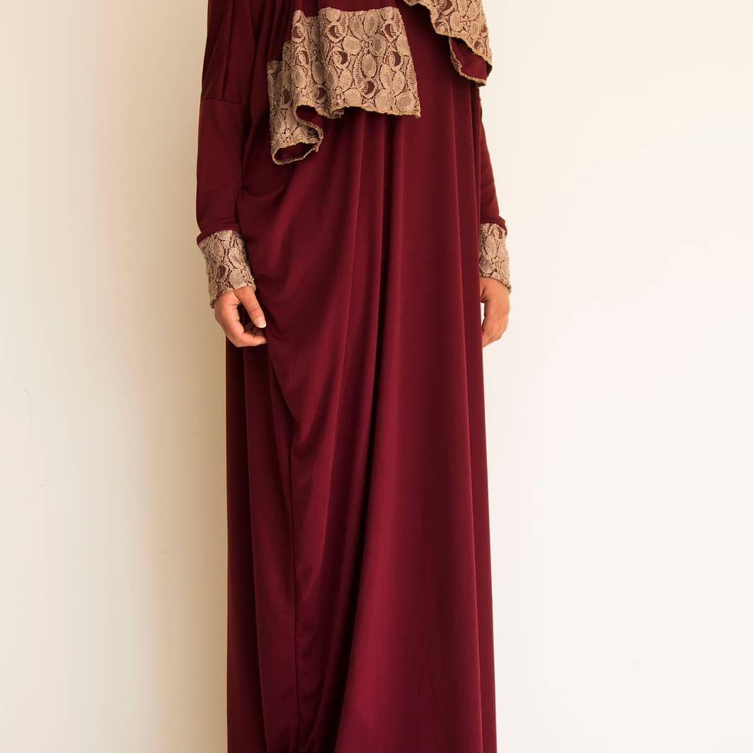 Prayer Clothes On Instagram Burgundy With Beige Dantelle احمر غامق مع دانتيل لون بيج Fashion Maxi Dress Dresses