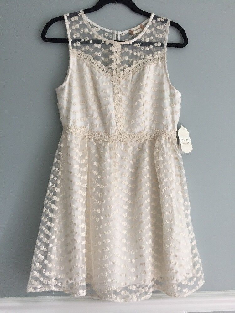 5ffd452678a Altar d State Dress Floral Crochet Off White Cream Homecoming short Size  Large