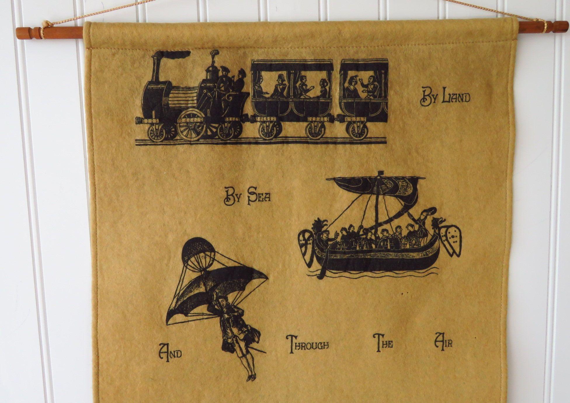 Vintage Textile Mail Pocket Wall Hanging Letter Holder