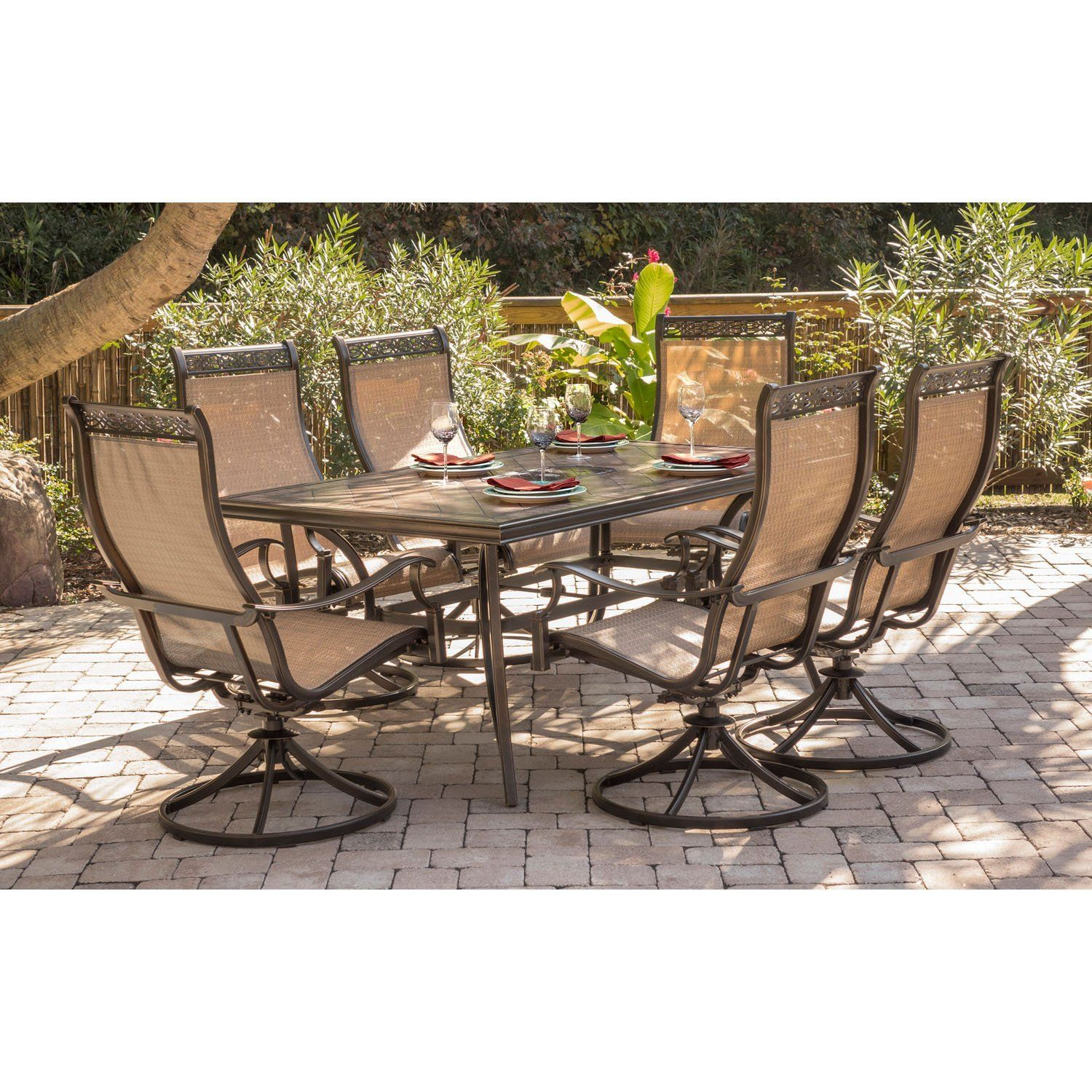 Hanover monaco outdoor patio furniture 7 piece dining set with six swivel rockers