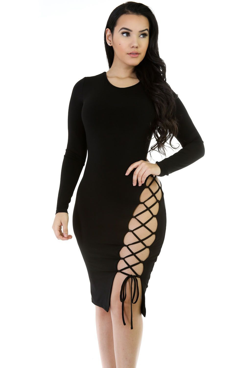 9e3b56a148 Black Laced up Bodycon Dress https   www.modeshe.com  modeshe