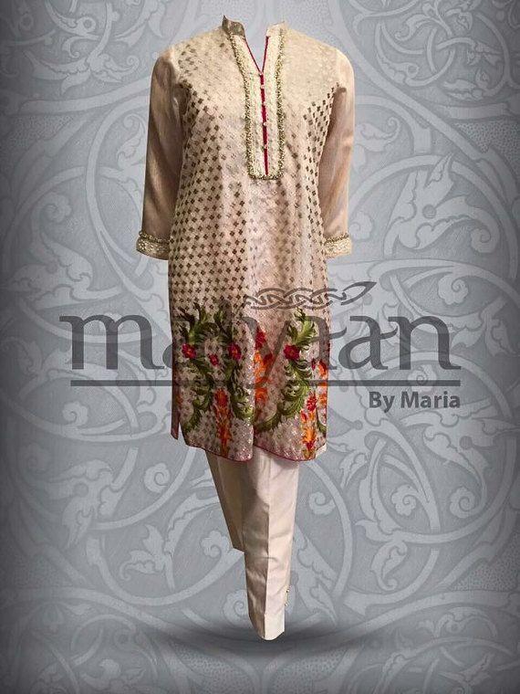 Sale-Beige mesuri silk formal shalwar kameez by IrmaDesign on Etsy