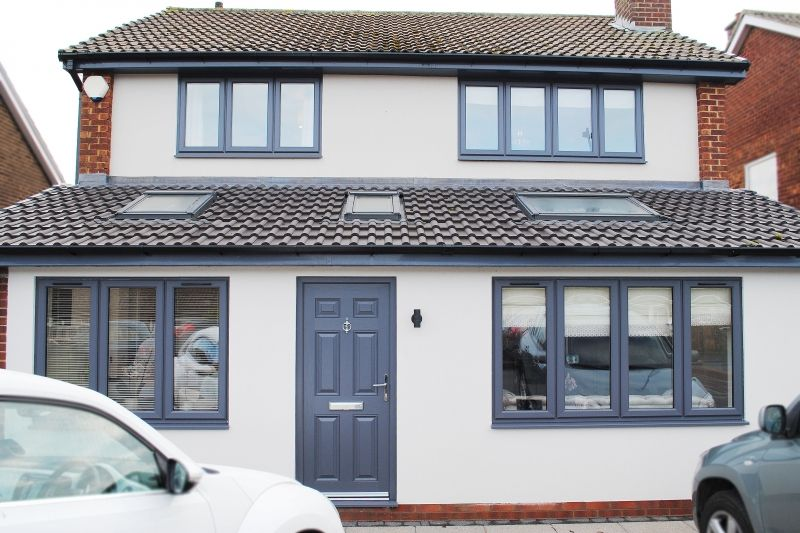 Full House Contemporary Grey Windows And Grey Composite