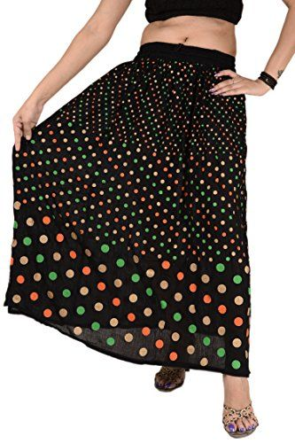 Women Long Skirt Painted Rayon Maxi Polka Dot Full Length Gypsy Bohemian Black -- Want to know more, click on the image.