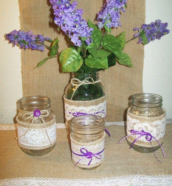 Decorating Jars With Lace Lavender Flower Vase Of Burlap And Lace Mason Jars Diy  Wedding