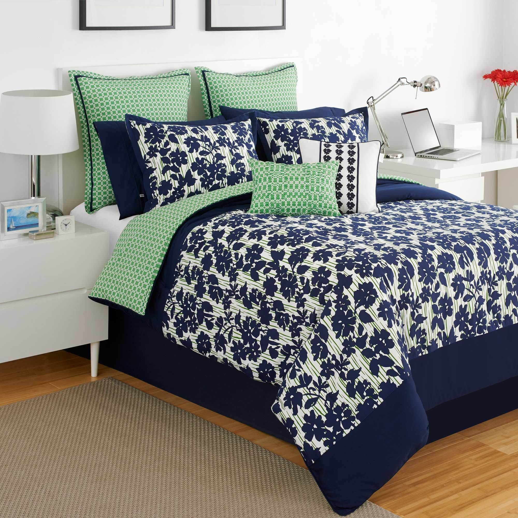 Light blue and white bedding 3 piece lattice trellis comforter set - Fresh And Classic Colors Abound In The Izod Augusta Comforter Set The Comforter Features A