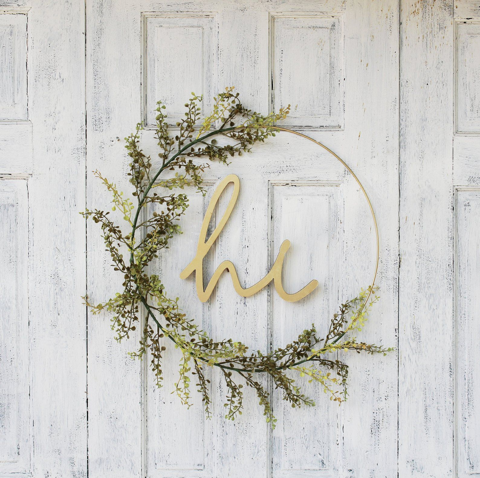 Photo of Hoop Wreath,Minimalist, Modern Wreath,Spring Wreath,Front Door Wreath,Wreath With Hi Sign