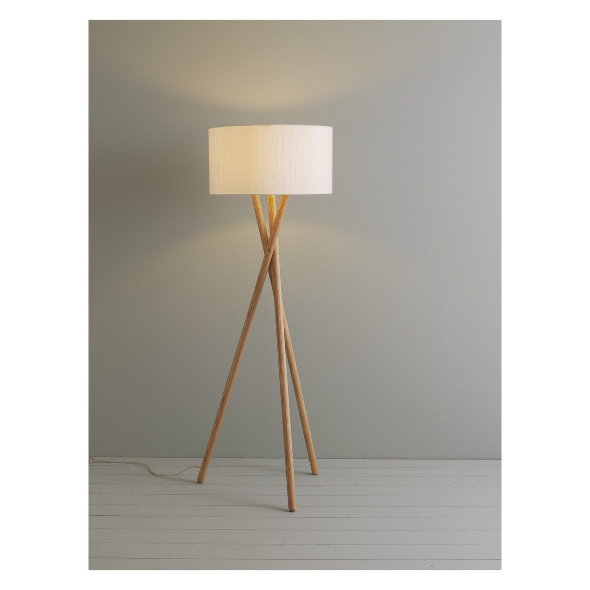 Good LANSBURY Ash Wooden Tripod Floor Lamp Base