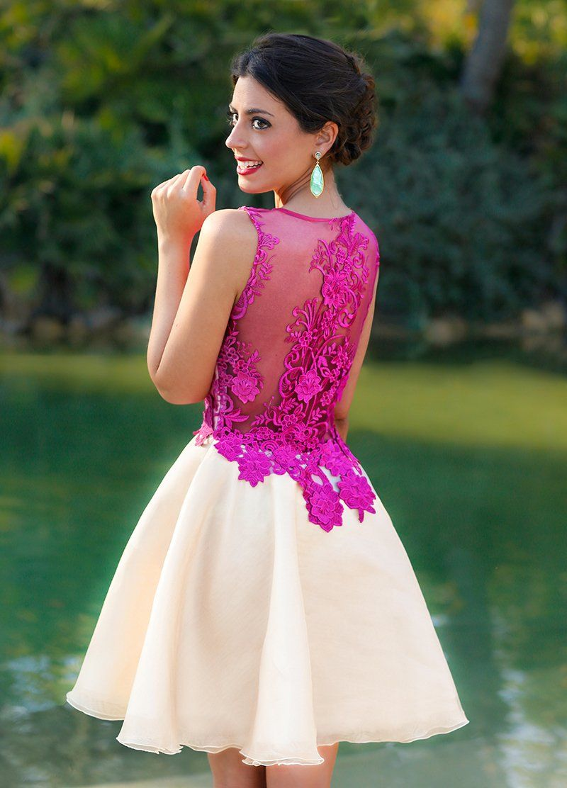 Chic Homecoming Dress Scoop Lace A-line Fuchsia Short Prom Dress ...