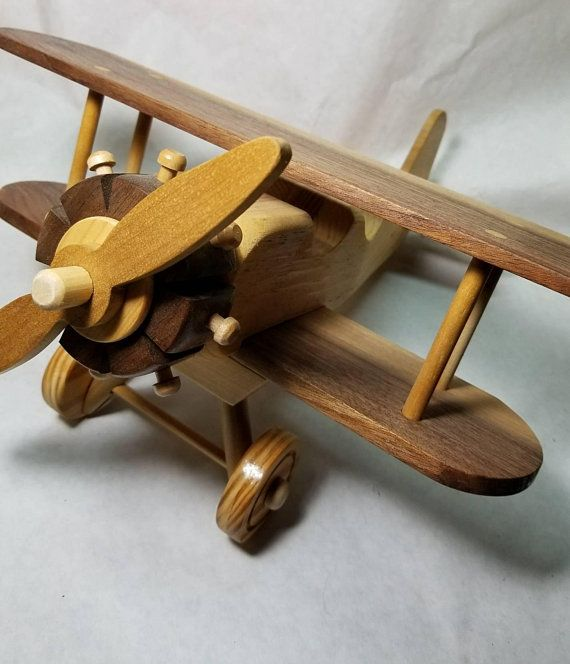 Toy Model Wooden Airplane Bi Plane Airplane Made Of All
