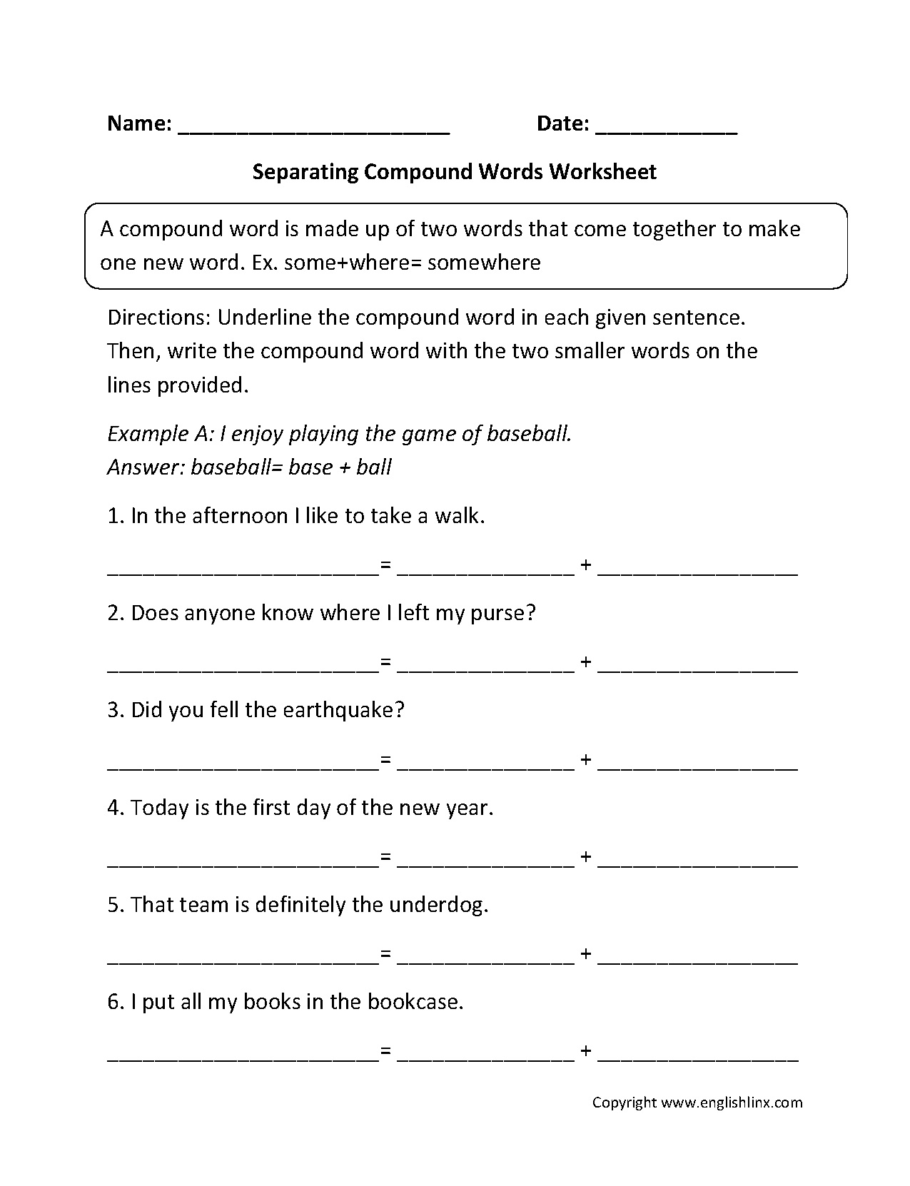 Separating Compound Words Worksheets
