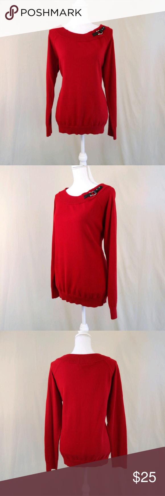 💐Sale Ralph Lauren Red Tunic Sweater with Buckle | Ralph lauren ...