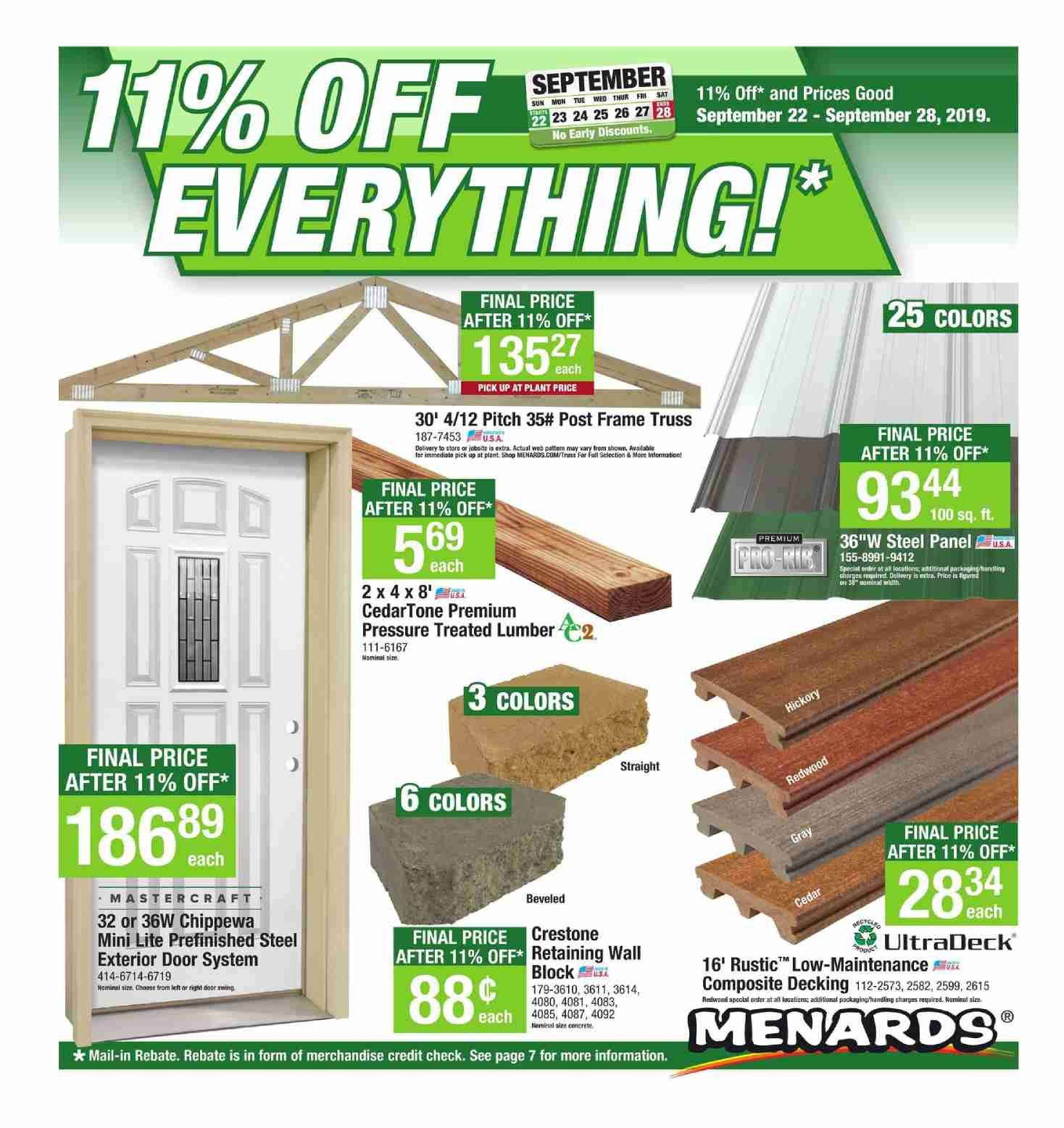 Are You Renovating Or Building A Home Check Out Sunday Ad The Latest Menards Weekly Ad Flyer September 22 28 2019 Menards Landscape Materials September 22