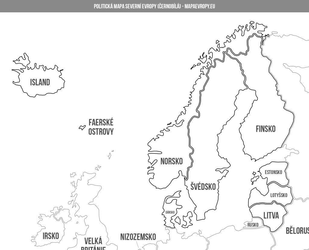 Mapa Severni Evropy Politicka A Slepa Norsko Evropa