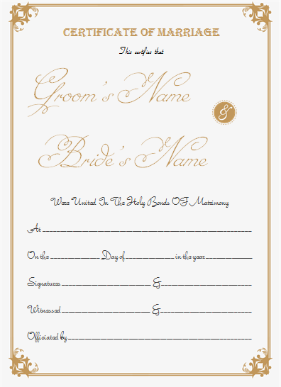 Portrait Marriage Certificate Template for Word | Arts and ...