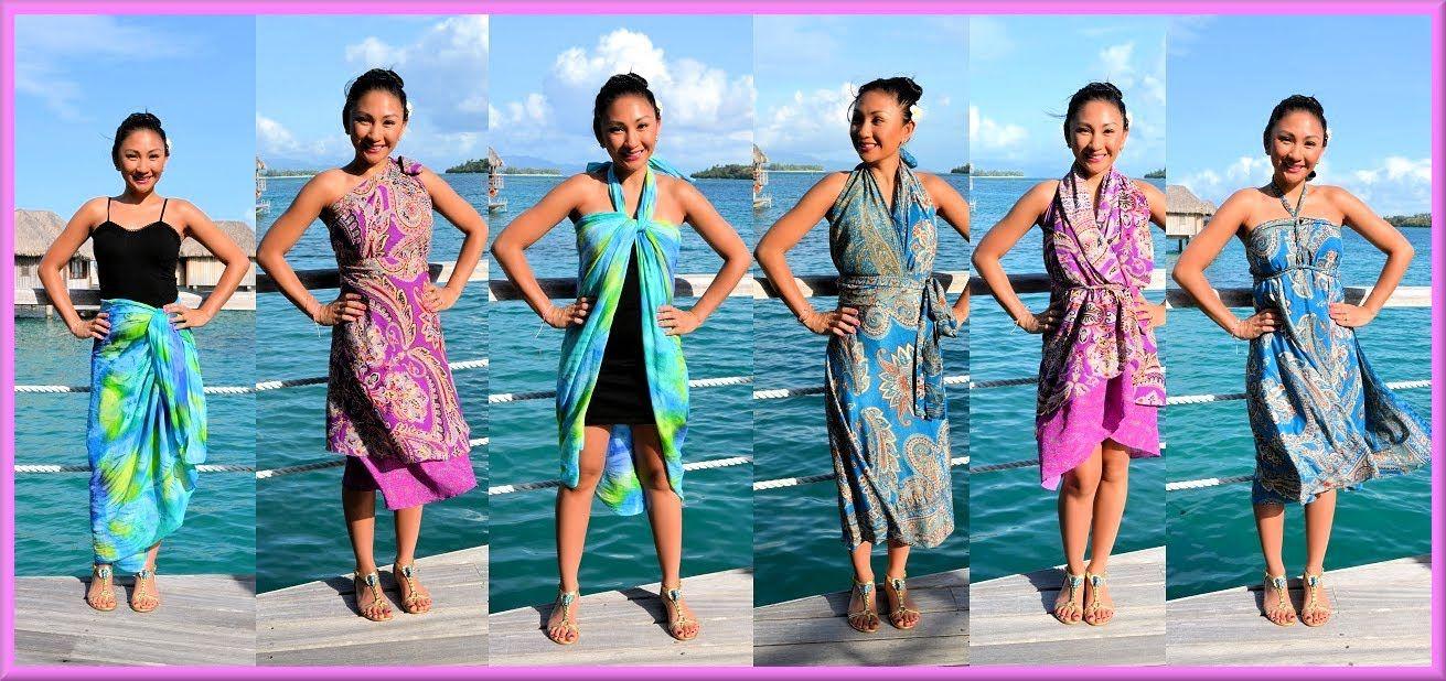 9 WAYS to WRAP,WEAR a SARONG, PAREO, CONVERTIBLE DRESS! (Iris ...