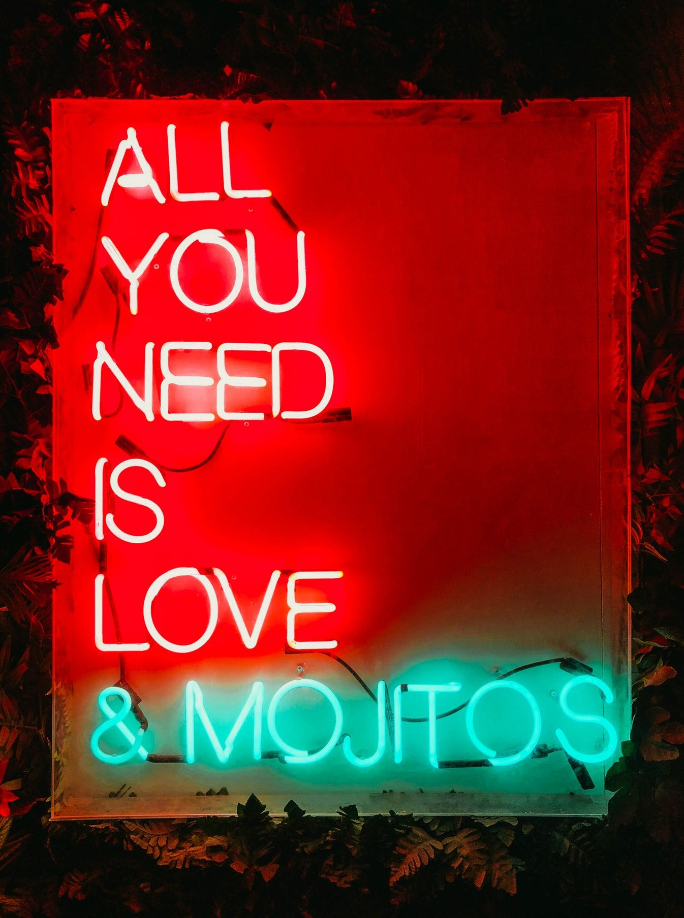 Red And Green All You Need Is Love And Mojitos Neon Sign With