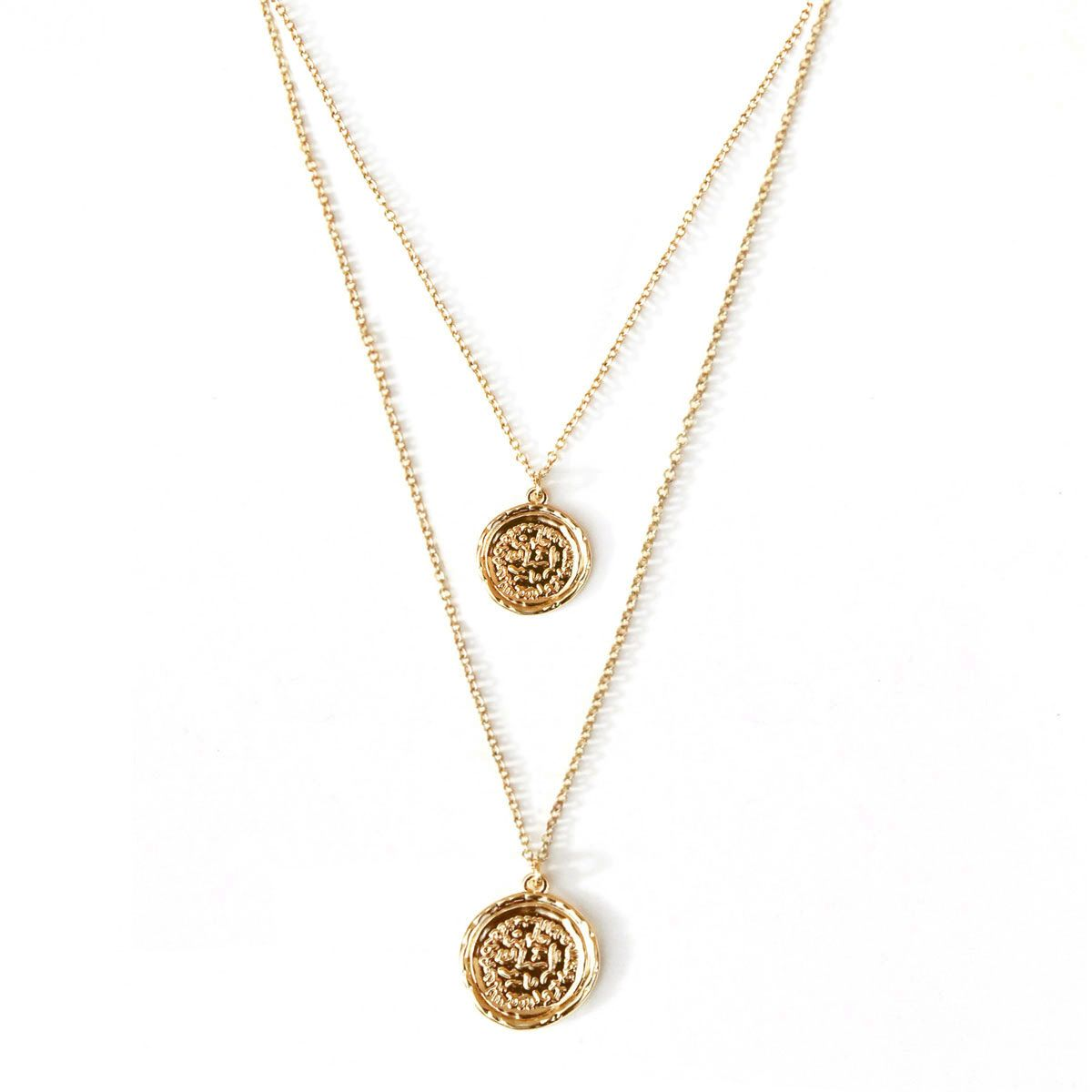 Double Coin Necklace Amber Sceats Designer Jewellery Coin Necklace Necklace Jewelry Design