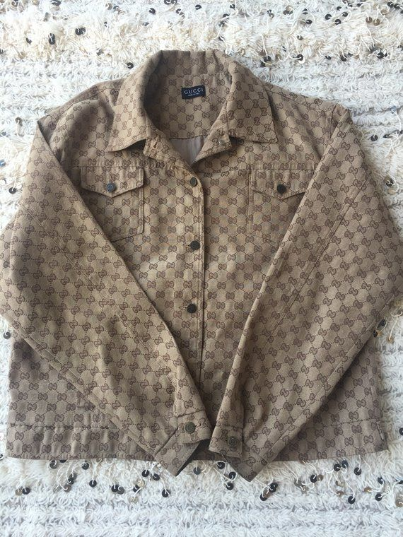 d396beabf Vintage GUCCI GG MONOGRAM Mens Womens Brown Jacket Top Blouse Shirt S M L -  Wow!!