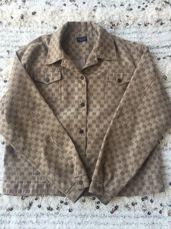 540a6b97b363 Vintage GUCCI GG MONOGRAM Mens Womens Brown Jacket Top Blouse Shirt S M L -  Wow!!