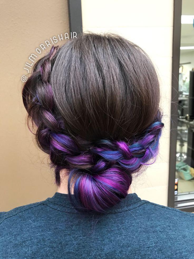 #underlights hair brown purple highlights
