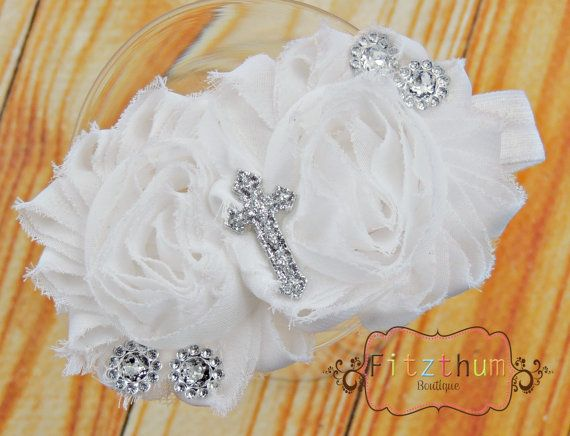 White shabby cross baptism  toddler girls by Fitzthumboutique, $8.75