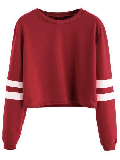 6ae9fe51ce1c9c Burgundy Varsity Striped Sleeve Crop T-shirt Mobile Site   Tops ...