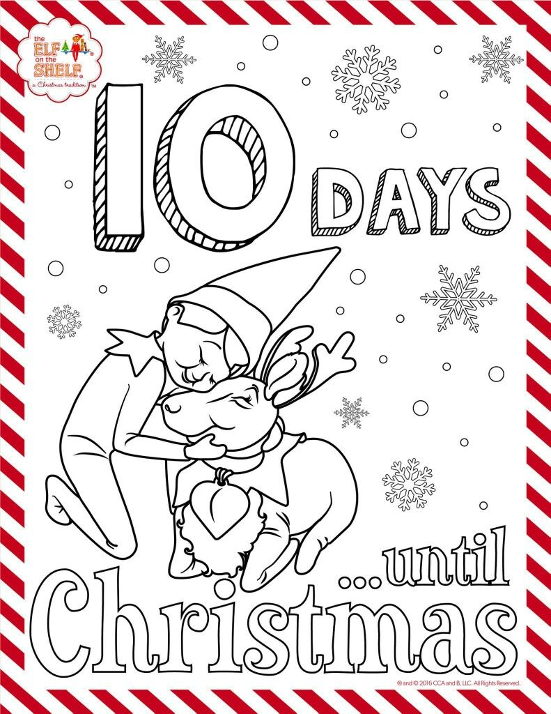 10 days till Christmas elf on the shelf colouring sheet | Elf on the ...