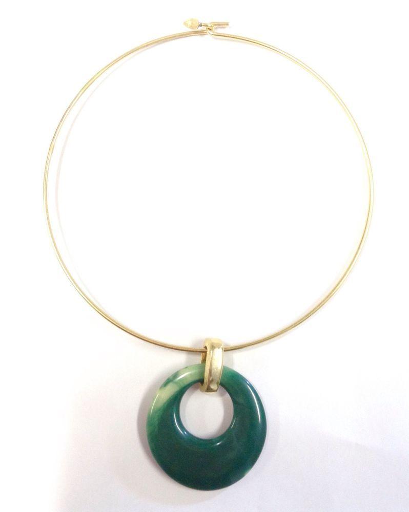 Vintage crown trifari necklace gold tone lucite resin green pendant