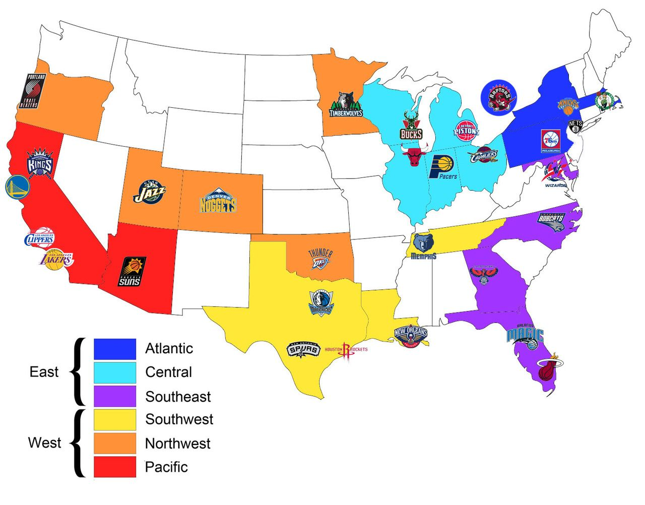 Map of all the NBA teams organised by conference and geographical division  @Amanda Woodard for
