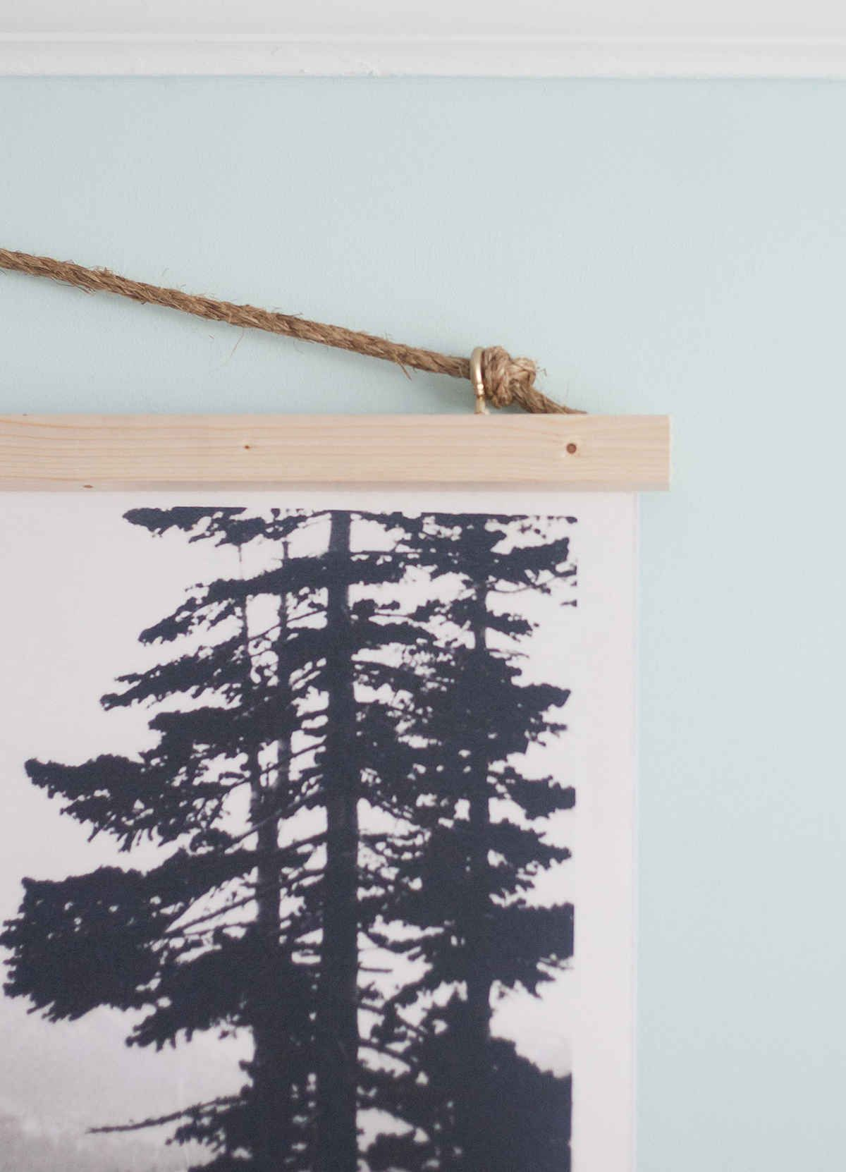 DIY black and white poster wall hanging