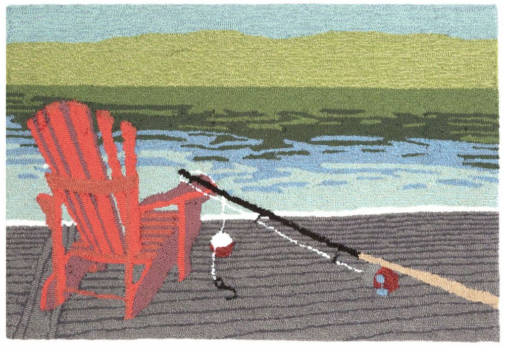 """/""""FISHING CANINES/"""" INDOOR OUTDOOR RUG 24/"""" X 36/"""" LAKE HOUSE DECOR AREA RUGS"""