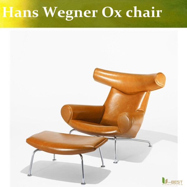 589.00$  Buy here - http://ali11g.shopchina.info/1/go.php?t=32716558765 - U-BEST Living room luxury modern leather OX chairs,Hans J Wegner ox horn lounge chair replica chaise chair  #magazineonlinebeautiful