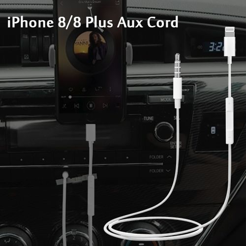 newest fbac7 ba90d 8 Pin to 3.5mm Male to Male Aux Audio Cord for iPhone 7/8/8 Plus ...