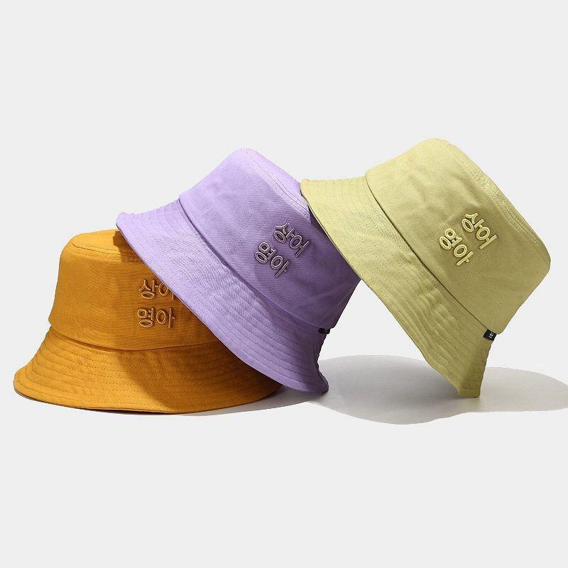 2020 New Shade Hat Women Female Summer Korean Letter Embroidery Fisherman Bucket Hat Japanese Simple Student Basin Cap Shade Hats Bucket Hat Fashion Bucket Hat